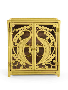 Mustard Rattan Wicker Peacock Cupboard - The Rattan Company