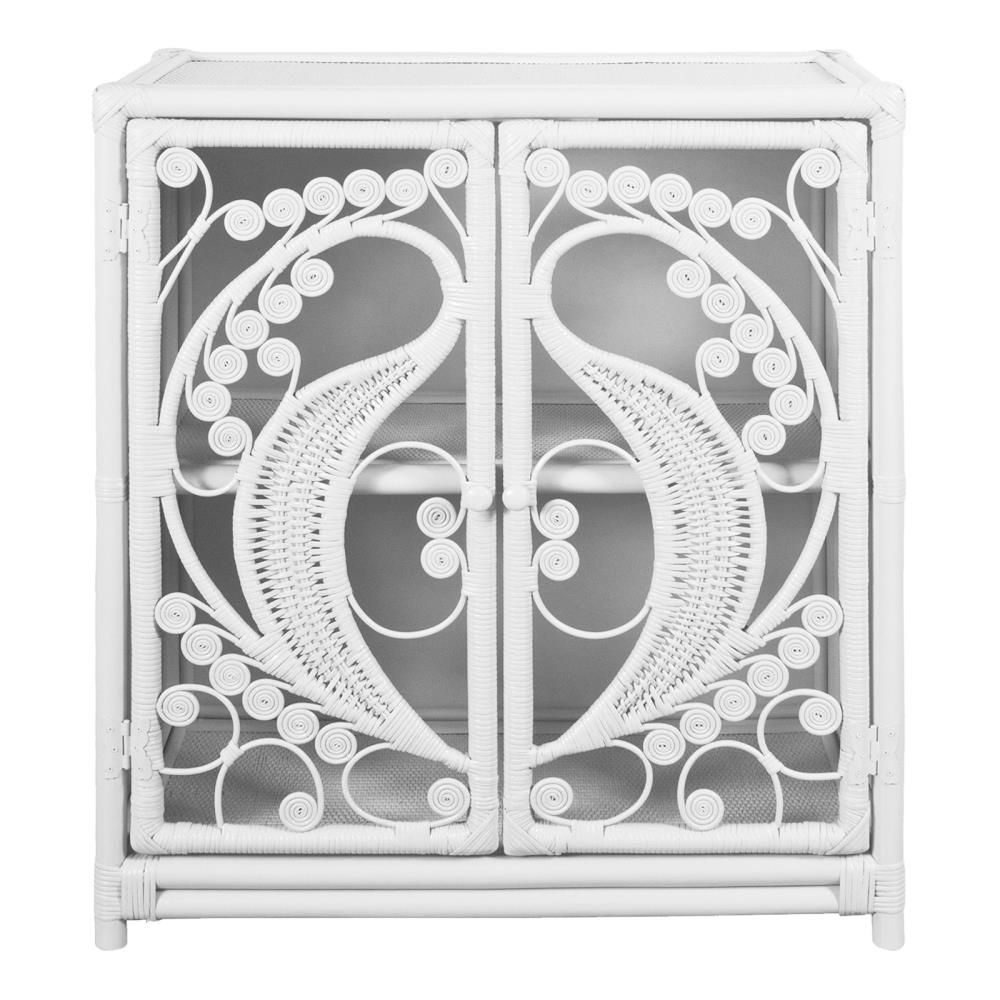 White Rattan Wicker Peacock Cupboard - The Rattan Company