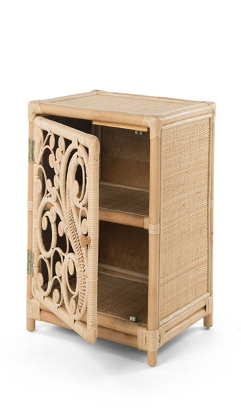 Peacock Natural Rattan Bedside Cabinet with Door Open - The Rattan Company