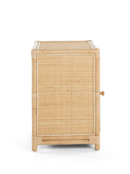 Peacock Natural Rattan Bedside Cabinet Side View - The Rattan Company