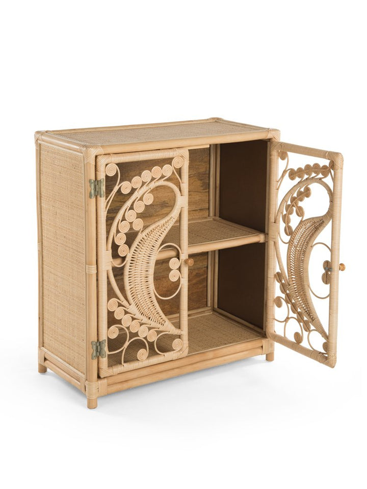 Natural Rattan Cane Peacock Cupboard Door Open - The Rattan Company