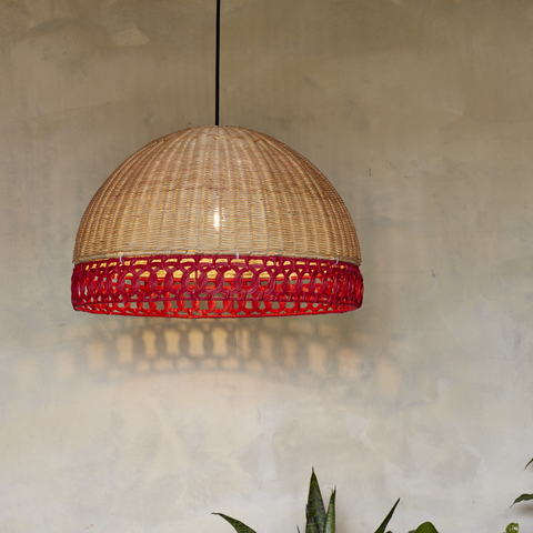 Sarah Natural Rattan and Red Wicker Lampshade - The Rattan Company