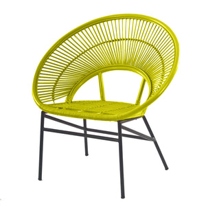Sunrise Rattan Wicker Accent Chair Mustard Yellow Angle - The Rattan Company