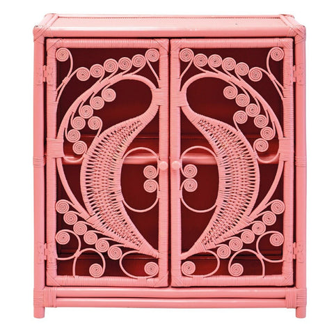 Peach Rattan Wicker Peacock Cupboard - The Rattan Company