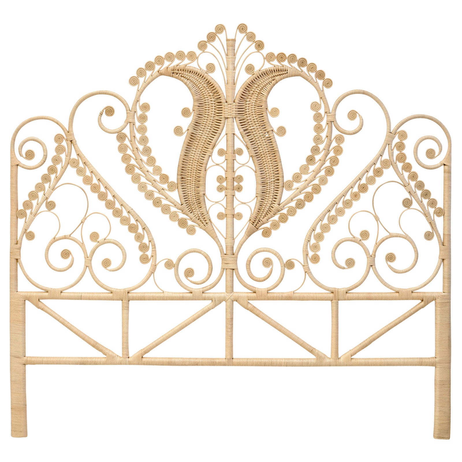 Peacock Natural Rattan Super King Size Headboard The Rattan Company