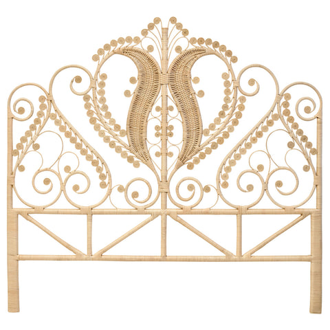 Rattan Peacock Superking Headboard Natural - The Rattan Company