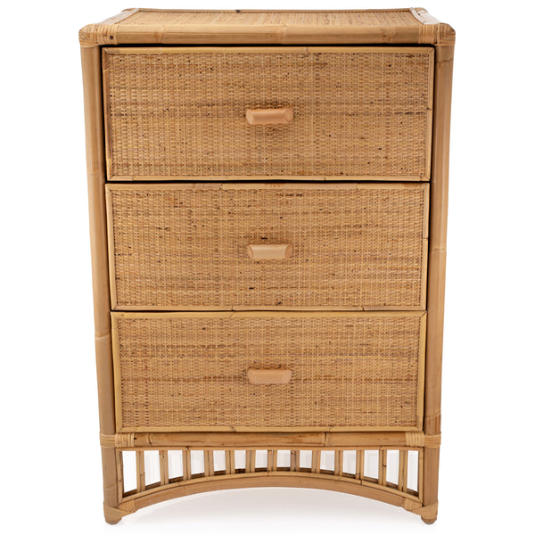 Iris Natural Rattan and Wicker Chest of 3 drawers - The Rattan Company