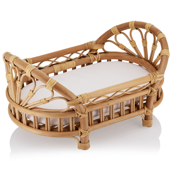 Natural Rattan Dolls Bed Crib with Mattress - The Rattan Company