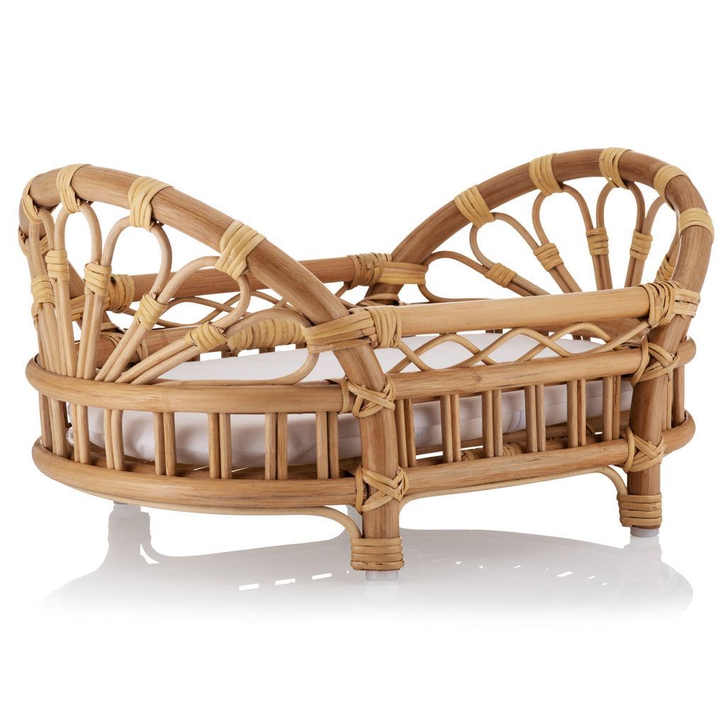 Natural Rattan Dolls Bed With Mattress The Rattan Company