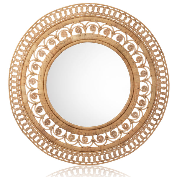 Large Rattan Dawn Mirror - The Rattan Company