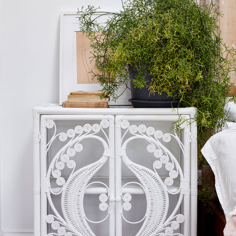 White Rattan Peacock Cupboard - The Rattan Company