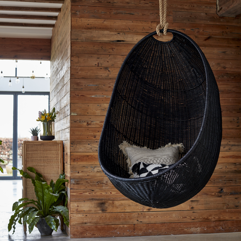 Zelma Hanging Egg Chair Natural Rattan with Iron Frame - The Rattan Company