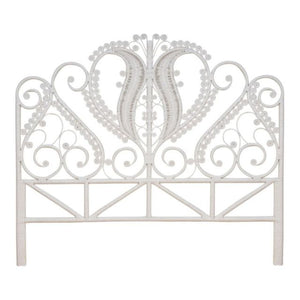 Peacock White Rattan Headboard (Super King)