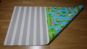Grey & White Stripes / Blue Track