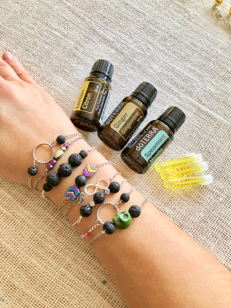 LilyLi.Jewelry Aromatherapy Lava Stone Bracelets and doTERRA's Essential Oils and oil samples