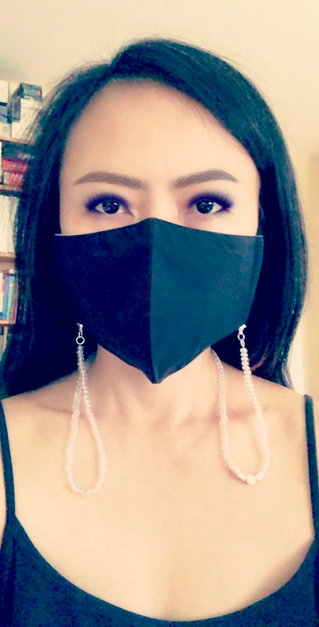 Black Organic Face Mask with Clear Beaded Face Mask Chain, AIMEE Face Mask and Mask Chain Set