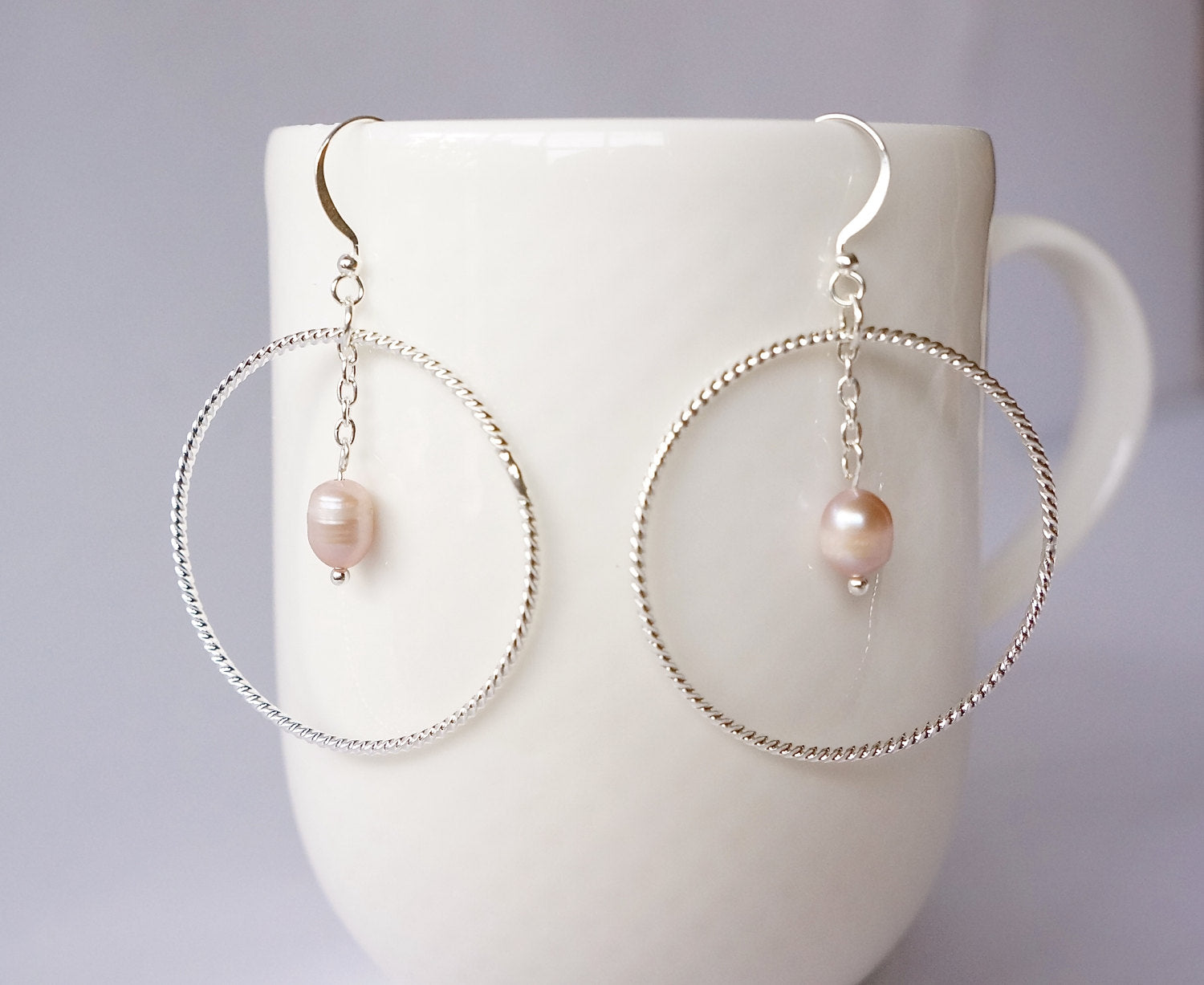 FRESHWATER PEARL EARRINGS, Boho Chic Jewelry, Birthday Gifts For Girls, Big Hoop Earrings, Large Circle Earrings, Large Hoops, Endless Hoop