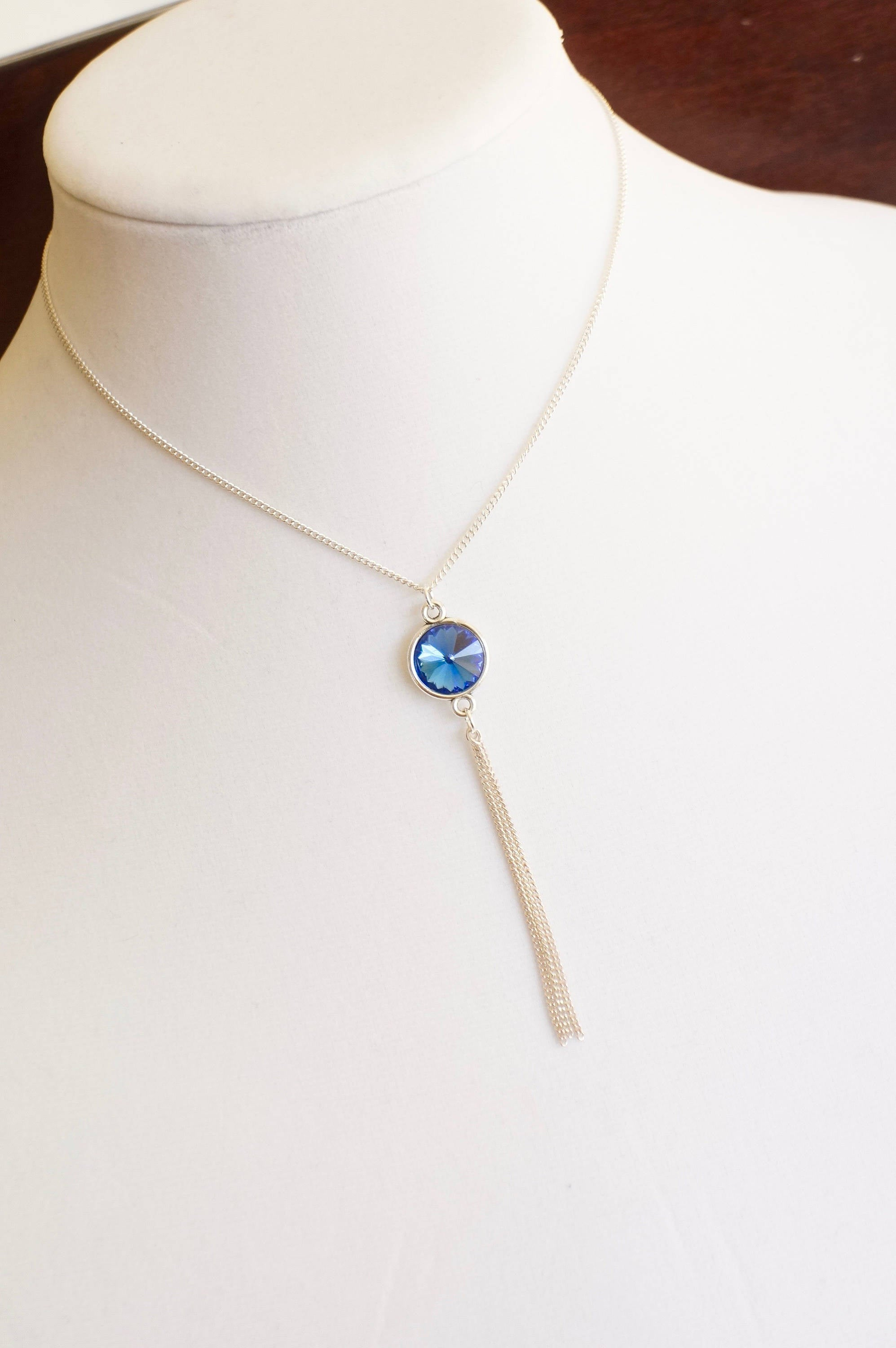 SEPTEMBER BIRTHSTONE Necklace, Sterling Silver Tassel Necklace, Something Blue For Bride, Sapphire Crystal Necklace, Boho Chic Jewelry, Best