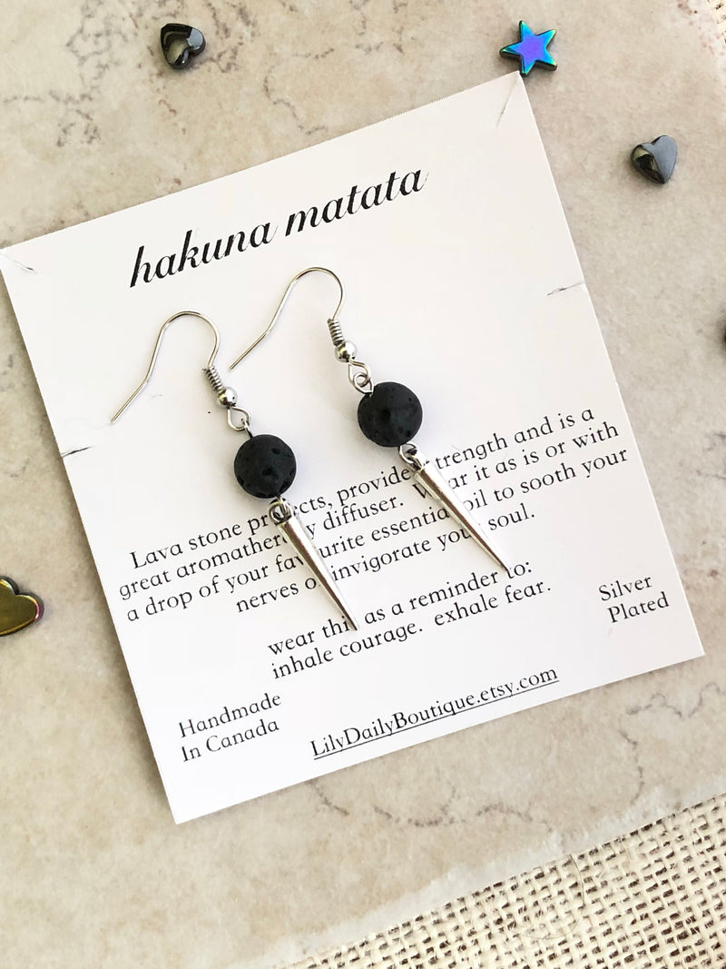 Silver Spike Earrings, Essential Oil Earrings, Lava Stone Diffuser Jewelry For Women, Edgy Jewelry, Aromatherapy, Birthday Gift For Girls