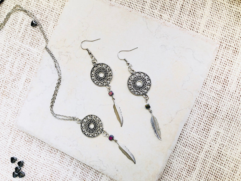 MANDALA NECKLACE AND Earrings Set, Sterling Silver Feather Earrings and Necklace Set, Tween Girl Gifts, Boho Jewelry Bridesmaid Gift For