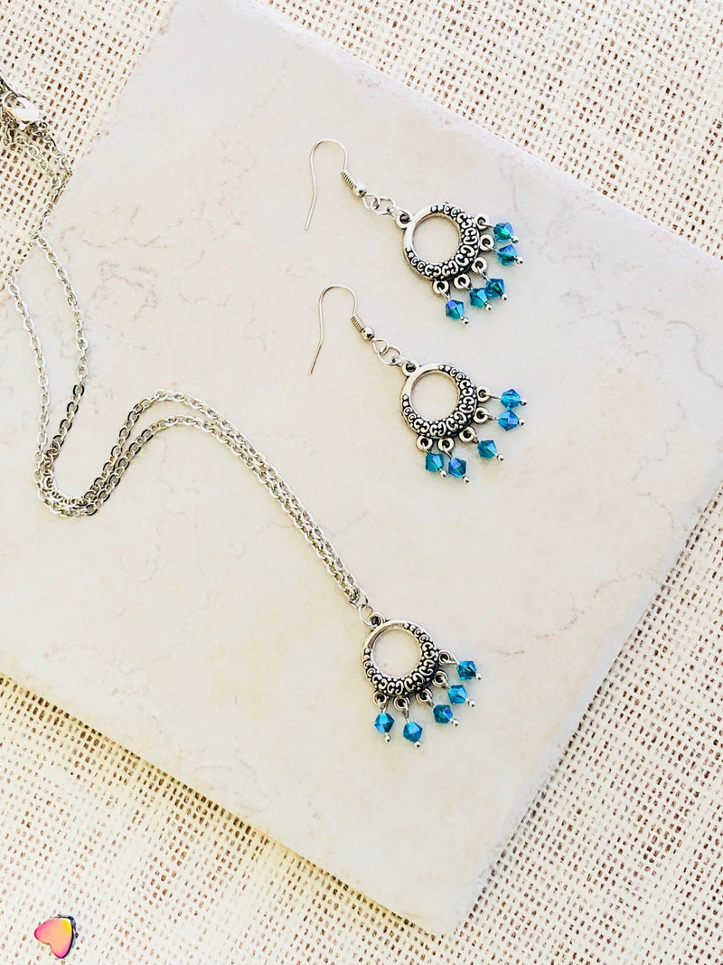 Lily Li Jewelry - Blue boho chic birthstone crystal necklace and earrings set