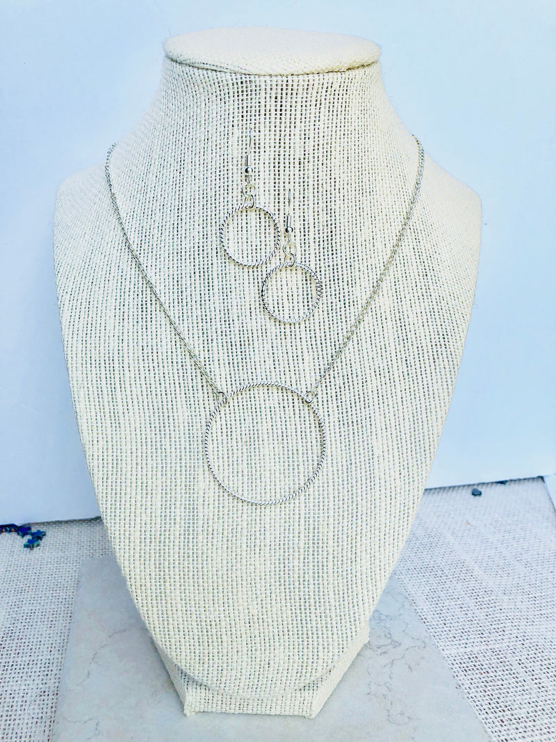Circle Necklace Set, Hoop Jewelry Set, Necklace Earring Set For Women, Bridesmaid Gift, Birthday Gift, For Girlfriend, For Sister, For Mom