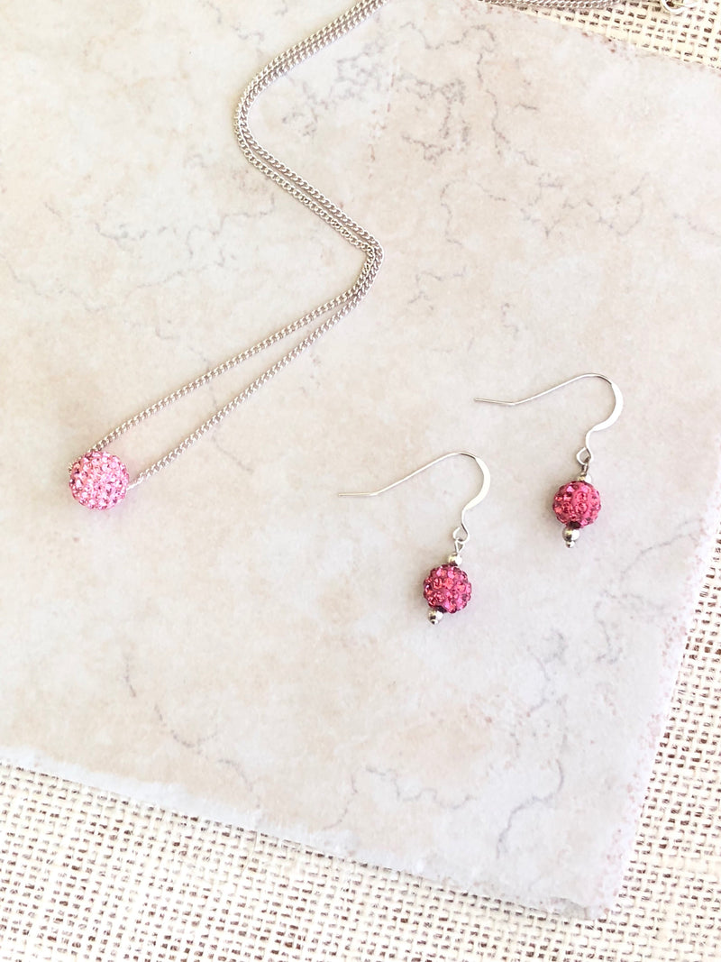 PINK Rhinestone Necklace And Earrings Set, Simple Necklaces For Women, Best Selling Items, Bridesmaid Gift Set, Personalized Gift For Her