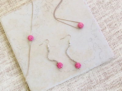 PINK Rhinestone Necklace And Earrings Set, Birthday Gifts For Girls, Bridesmaid Gift For Women, Teen Girl Gift, Flower Girl Gift, For Her