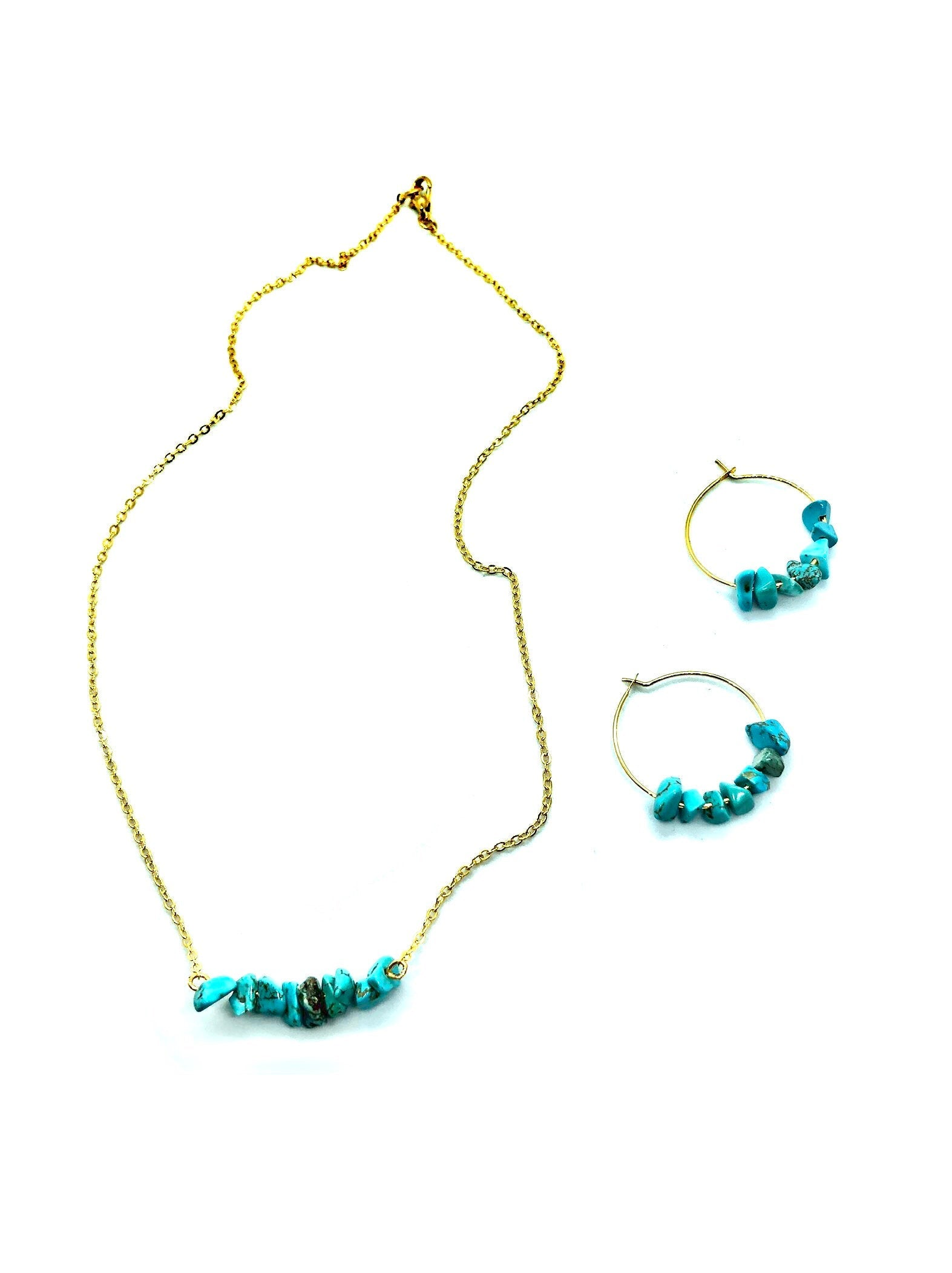 raw turquoise necklace and earring set, gemstone hoop earrings, boho chic jewelry, Mother gift from daughter, gold bar necklace, best seller