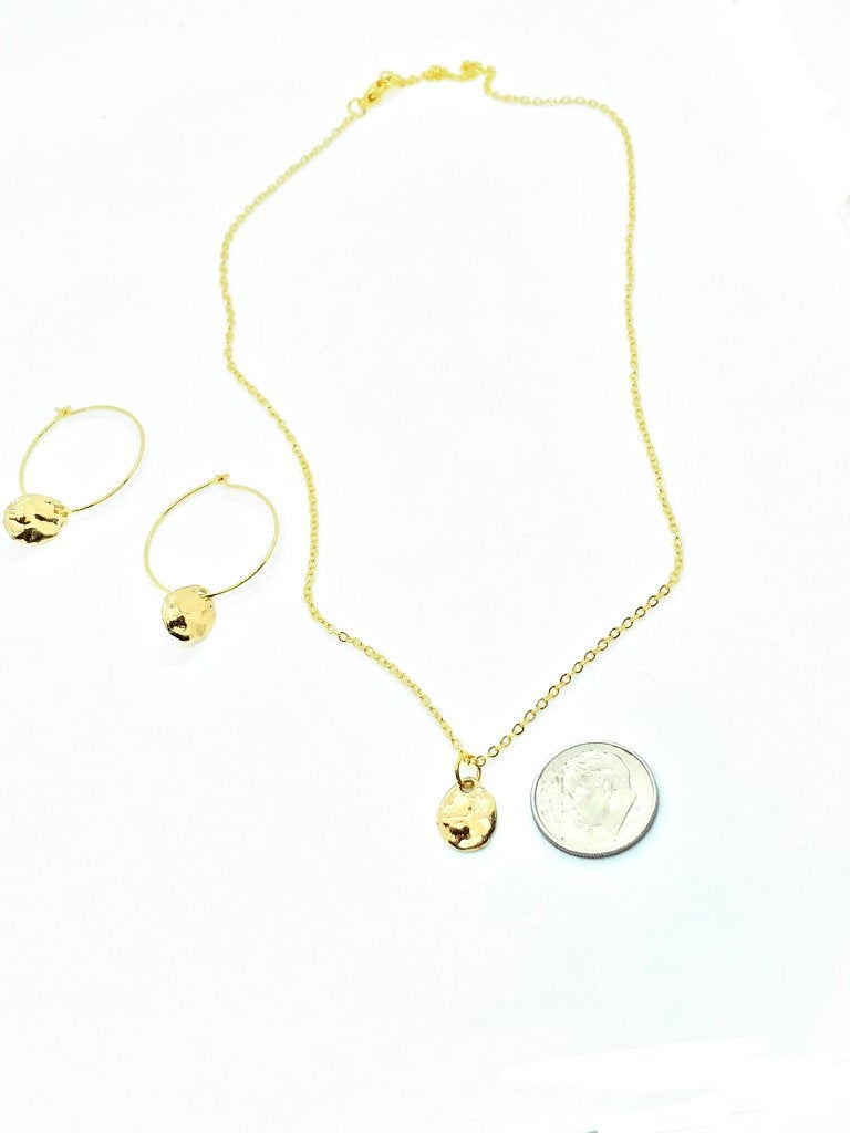 Gold Minimalist Necklaces For Women, Mothers Day Jewelry, Gold Nugget Necklace and Earring Set, Mothers Day Gift From Daughter,Step Mom Gift