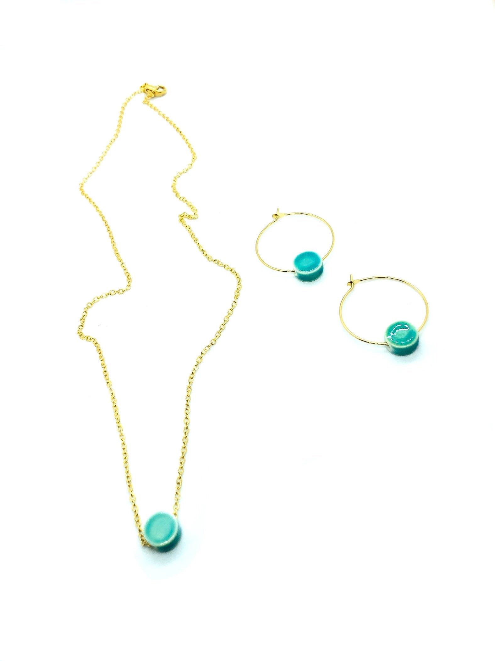 dainty and gold turquoise necklace gifts for mom & turquoise hoop earrings gold, best friend birthday gifts for her, boho chic jewelry, mom