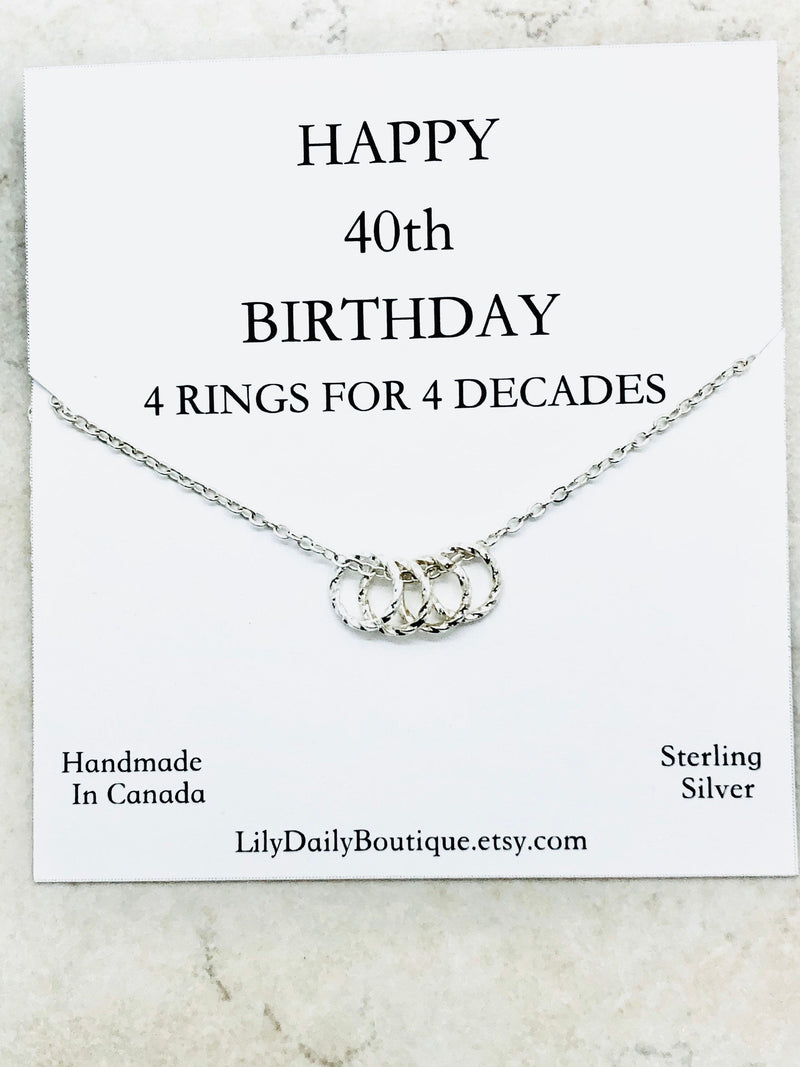 Happy 40th birthday gifts for best friend, the one where we were quarantined gift for her, 4 four ring necklace, birthday girl, best sellers