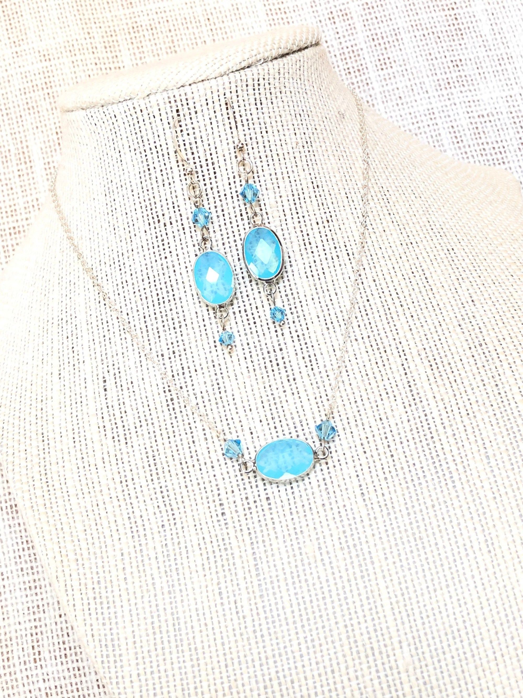 Aquamarine crystal necklace and earrings set, mom birthday gift, March Birthstone Necklace gift for girlfriend, best selling items, trending