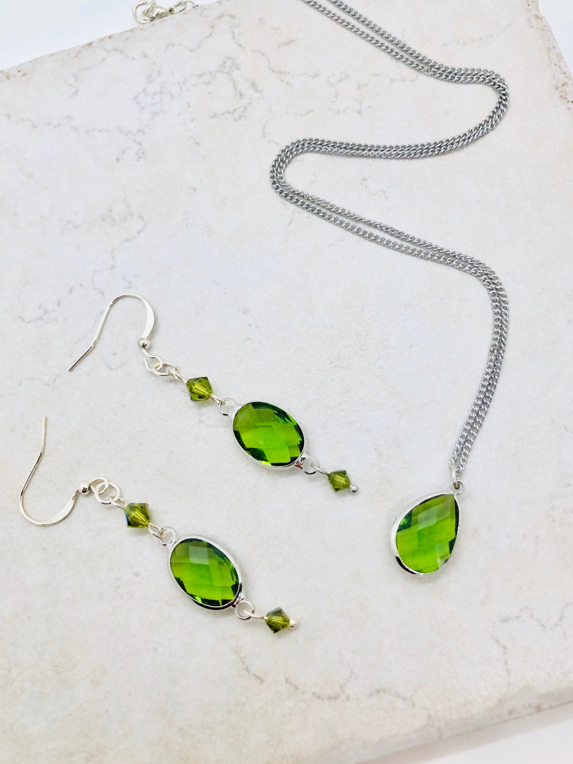 August jewelry, August birthstone necklace for mom peridot earrings dangle, quarantine birthday gift for her sweet 16 gift for granddaughter