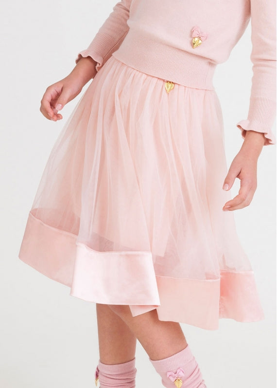 Angels Face Mid Skirt with Satin Trim