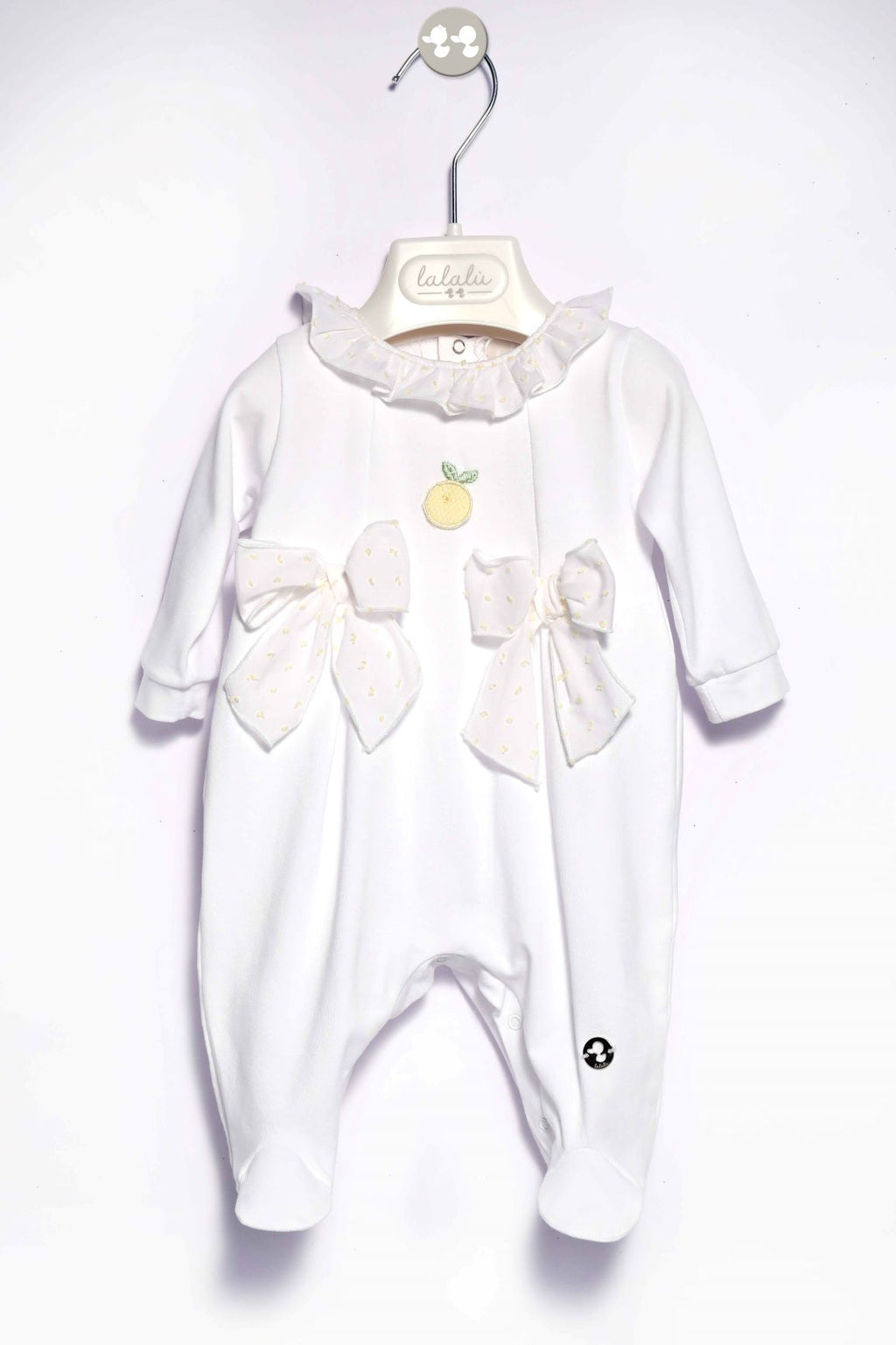 White babygrow with bow detail