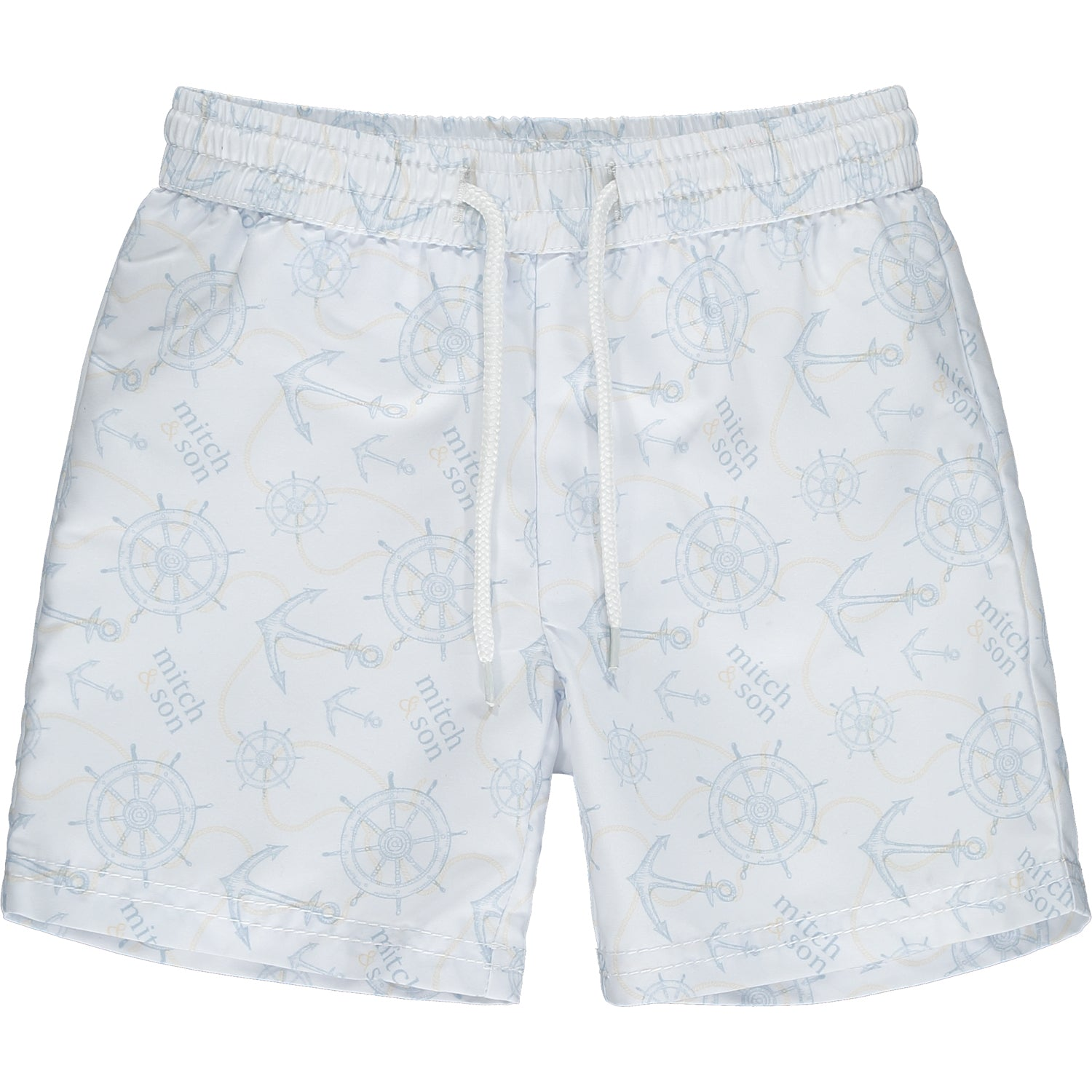 white swim shorts