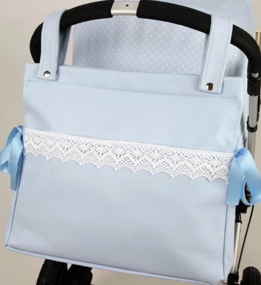 Blue Changing bag with lace detail