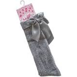 Knee High Grey Socks with Bow
