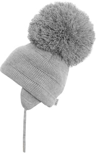 large grey pom pom hat
