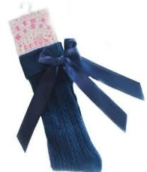 Knee High Socks with Bow Navy