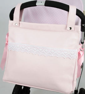 Pink Changing bag with lace detail