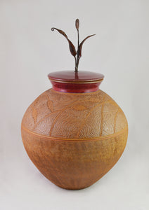 Lidded jar- wheat motive
