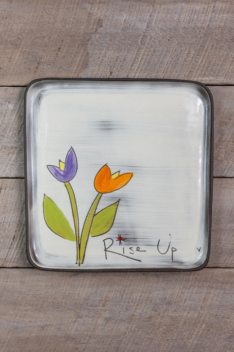 Rise Up Large Square Plate by Zpots