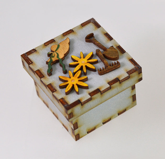Tiny Treasure Box (shovel/hat/flowers/blue) by Doles Orchard Box Shop