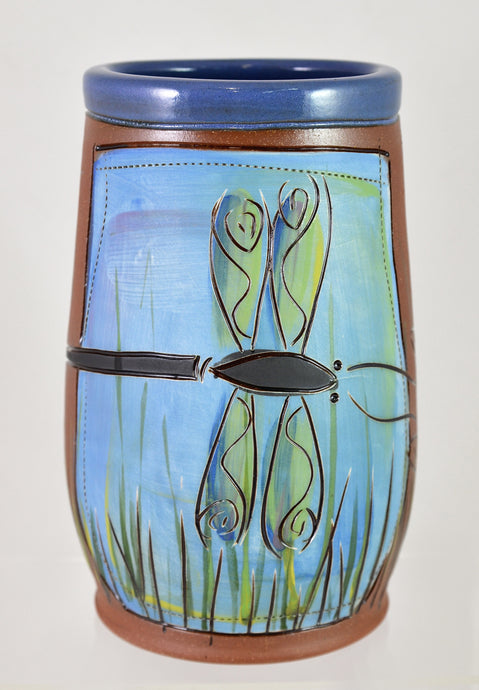 Dragonfly Utensil Jar/Vase by Jennifer Stas