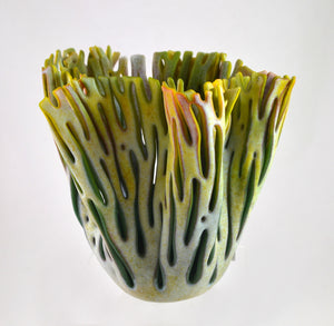 Medium Vase (vanilla/forest) by Glenda Kronke