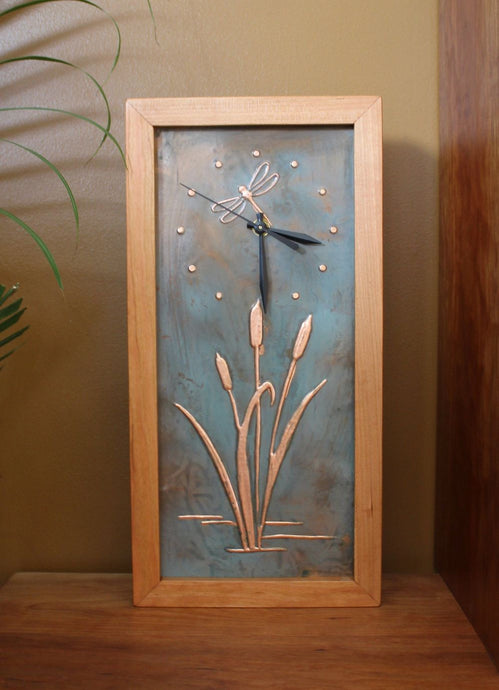 Tall Box Clock with Patina Copper Dragonfly & Cattail Face by Sabbath Day Woods