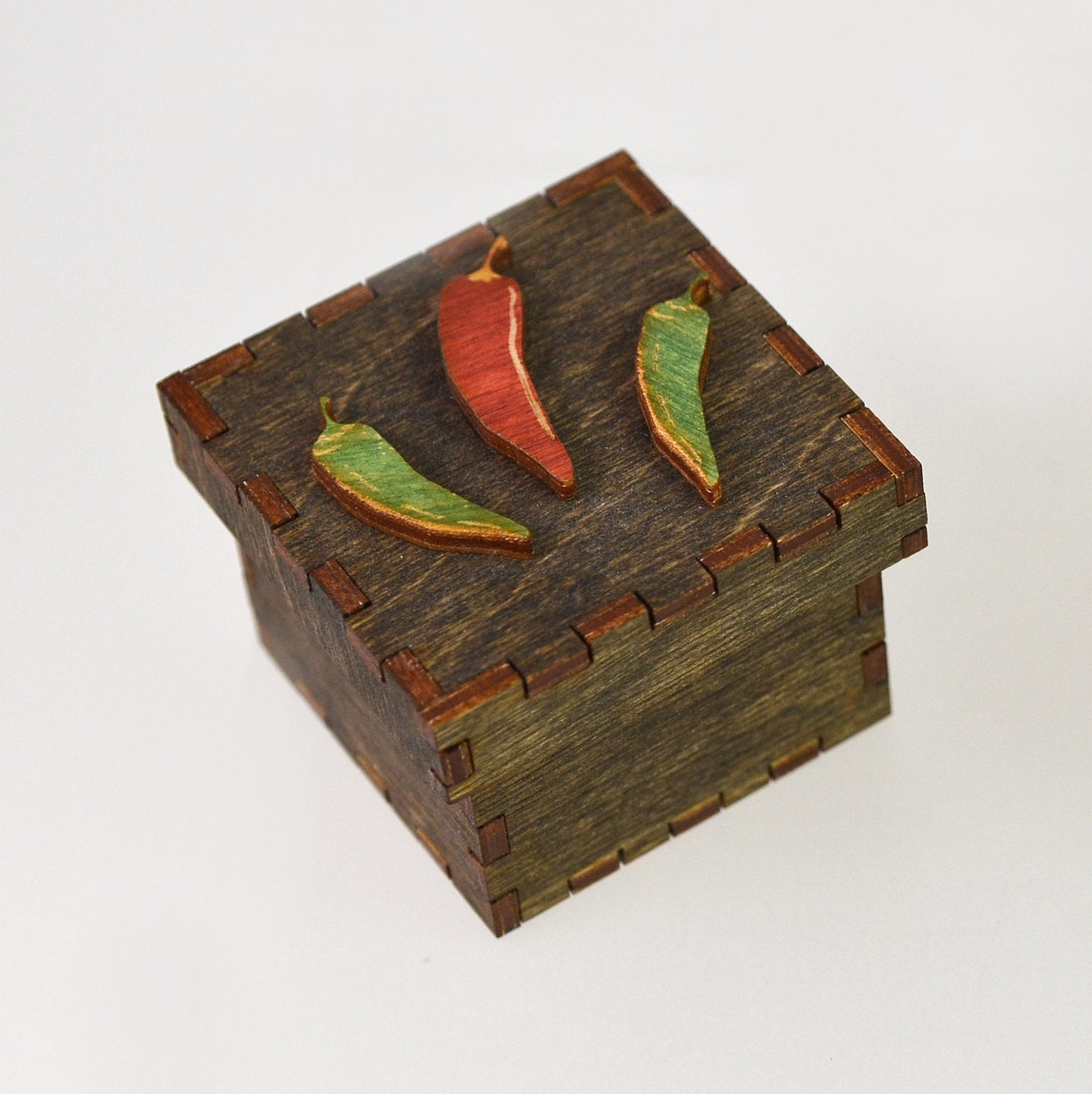 Tiny Treasure Box (peppers/brown) by Doles Orchard Box Shop