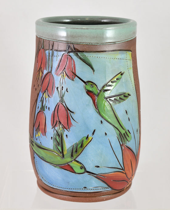 Hummingbird Utensil Jar/Vase by Jennifer Stas